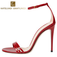 الصيف المصارع الصنادل النساء أحذية عالية الكعب الصنادل الأسود اللمحة تو مثير الصنادل أحذية الزفاف الصنادل النساء الإناث K-020