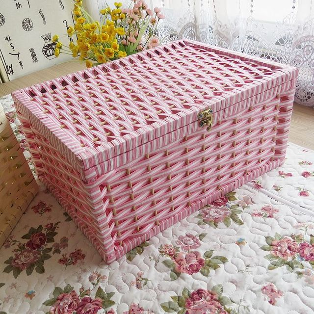 Handmade Green Home Ideas Lockable Storage Box Large Storage Rattan Covered  Home Finishing Bra Underwear Box