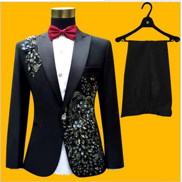 Latest Coat Pant Design Black Pattern Rhinestone Men Suit Costume Stage Slim Fit 2 Piece Prom Tuxedo Suits Custom Blazer Terno