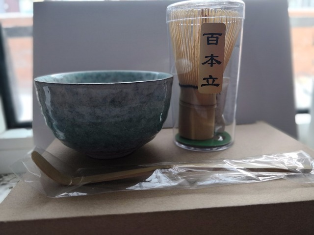 Free shipping ceremony grade matcha tea set, green tea powder Japanese ceremic bowl matcha whisk and bamboo scoop 3 parts in set