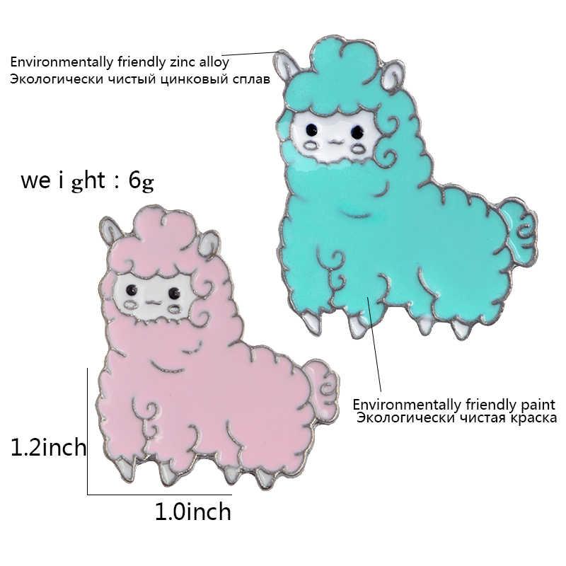 Kecil Yang Lucu Alpaca Pink Biru Domba Enamel Bros Denim Pakaian Kerah Pin Lencana Kartun Perhiasan Hadiah untuk Anak Perempuan