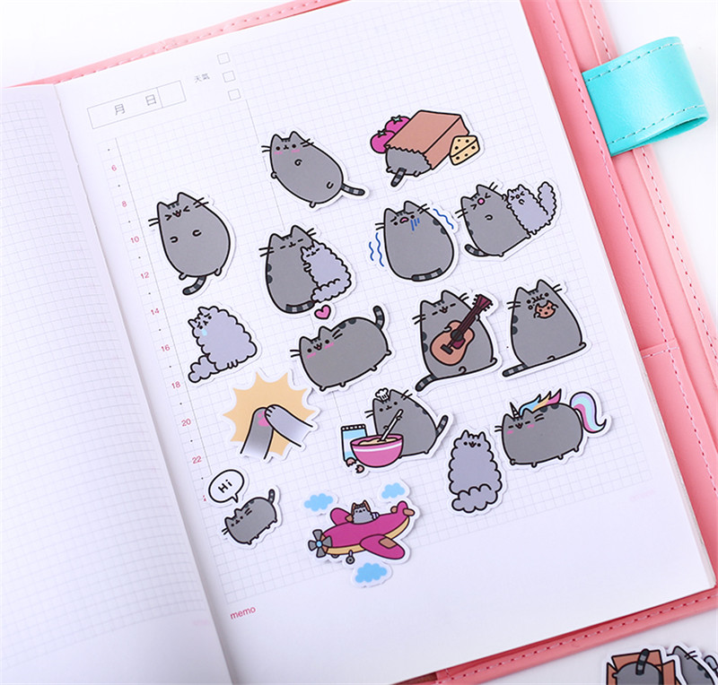 Image 2 - 40 pcs Fat cat expression homemade Sticker for Kid DIY Laptop Waterproof Skateboard Moto phone Car Toy Scrapbooking Stickers-in Stickers from Toys & Hobbies