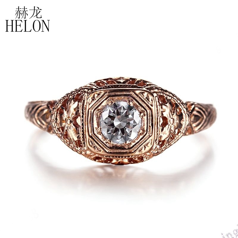 HELON Solid 14k 585 Rose Gold Lab Grown Diamond Engagement Ring 0.3CT Vintage Classic Moissanites Wedding Jewelry For Women Gift aeaw lab grown diamond moissanites engagement bangle solid 10k white gold bracelets for women wedding fine jewelry