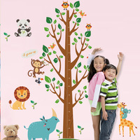Extra Large 175 X 110CM Tree Wall Sticker Kids Boys Girls Height Measurement Cartoon Animals Growth