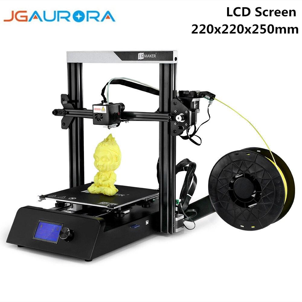 JGAURORA Magic 3D imprimante 220x220x250mm haute précision en métal cadre Kit d'impression Kit de bricolage Hotbed avec écran LCD
