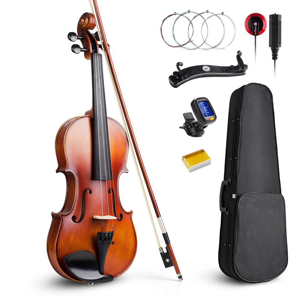 Vangoa Natural Acoustic Violin Fiddle 4/4 Full Size with Violins Case, Shoulder Rest, Rosin, Violin Strings and Violin Pickup 4 strings new 4 4 electric violin silent pickup fine tone parts include new golden color 5 22 red color
