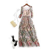 Runway 2018 Evening Party Dresses Gorgeous Half Sleeves Sheer Mesh Embroidery Boho Bohemian Long Dress Goddess Celebrity Style