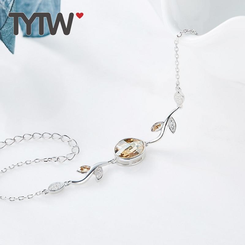 TYTW S925 Cristales de plata esterlina de Swarovski lady Brazalete de - Bisutería - foto 5