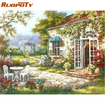 RUOPOTY Frame Gardan DIY Oil Painting By Number Landscape Calligraphy Painting Acrylic Paint On Canvas For Home Decor 40x50cm