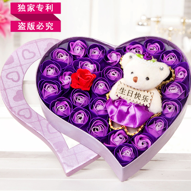 2015 New Style Free Shipping Small Gift Girls Birthday Gifts Girlfriend Honey Romantic Noveltypractical Soap Flower Beautiful
