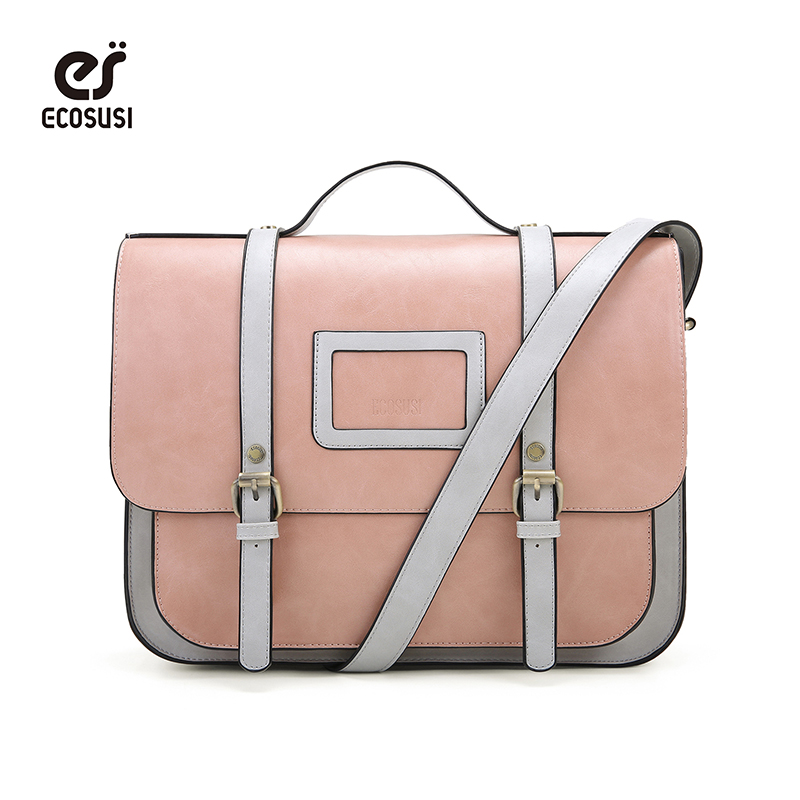 34e0c9252c2 ECOSUSI Women PU Leather Satchels 13 Inch Laptop Messenger Bag Shoulder Bag  Vintage Briefcase Crossbody Bags Handbag Retro