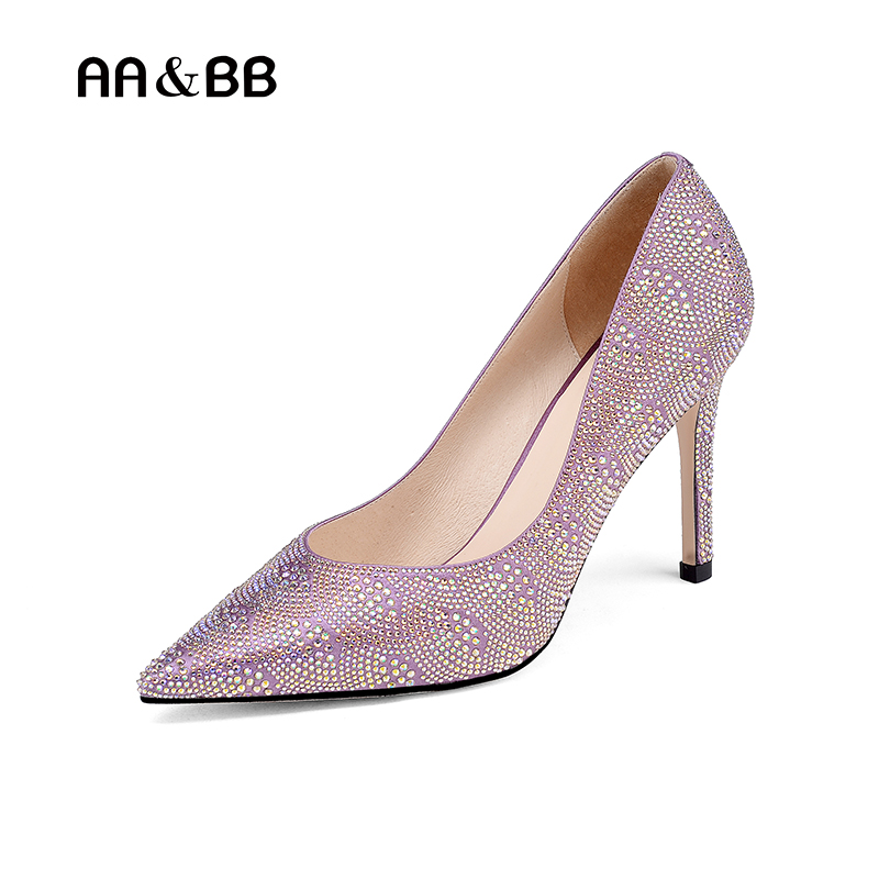 AA&BB new style pink crystal slip-on shoes woman elegant pointed toe thin heels wedding women shoes shallow pumps lttl bling elegant pointed toe high heels women pump slip on rhinestone pointed toe thin heel party wedding crystal shoes woman
