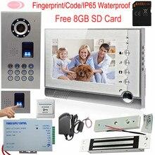 Video Intercom With Recording +Free 8GB SD Card Fingerprint/Code Door Phone System With Electromagnetic Lock IP65 Waterproof Kit