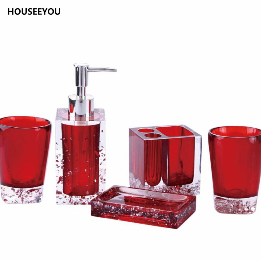 Red bath accessories sets top black and white shower for Black and white bath accessories
