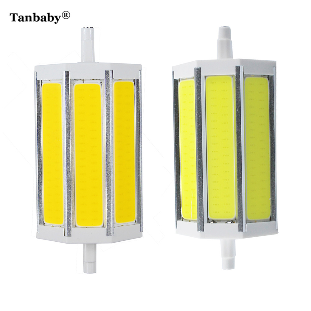 Tanbaby Dimmable LED Lamp R7S 118 mm COB Tube LED Corn Bulb Indoor Light Replace Halogen Floodlight AC85-265V Warm White2pcs/lot 1 pcs lot r7s led 15w 20w 25w 35w dimmable smd5730 118mm j118 led light bulb light lamp ac85 265v replace halogen floodlight
