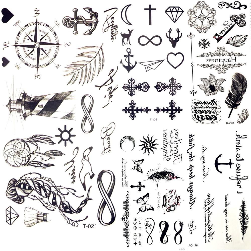 Little Gadgets Infinity Water Transfer Tattoo Black Compass Endless Tatoo Women Body Arm Hand Art Temporary Tattoo Stickers Men