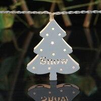 Rétro Mini Arbre De Noël Blanc de Neige Évider Art Fer Chaîne LED Lumière de Corde Corde Éclairage de la Chambre Wrap De Mariage Décor