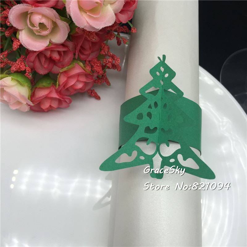 50pcs Free Shipping Towel Buckle Laser Cut Paper Napkin Rings supplies Christams Tree design Christmas party Table Decoration