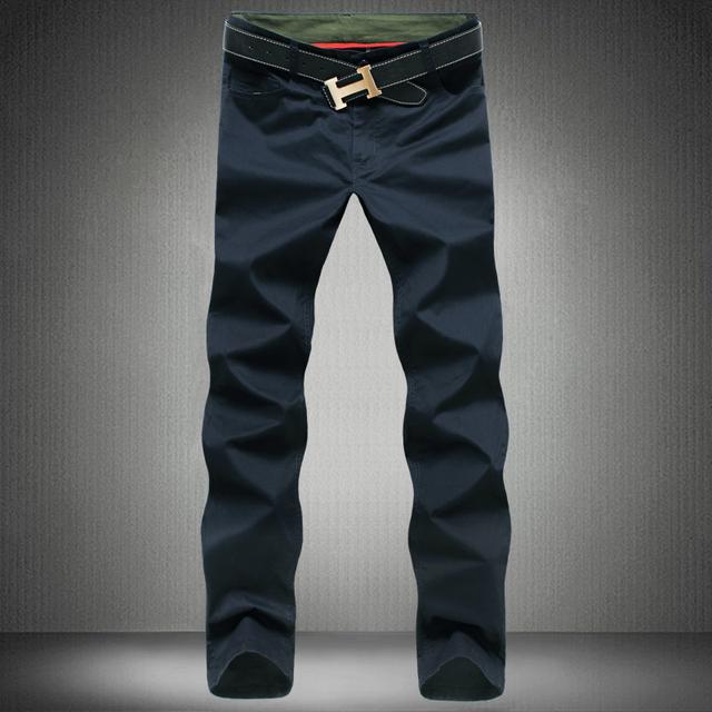 2016 Nueva Moda de los hombres pantalones de algodón lavada pantalones casuales hombres rectos de los pantalones 9 colores más el tamaño 28 ~ 44 de los hombres ropa