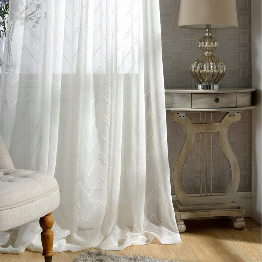 GIGIZAZA Chevron Stripe Embroidery door voile curtain luxury for living room window curtain sheer tulle brown color custom size