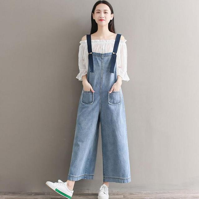 3828088d0a2 New Denim Overalls Jumpsuits Plus Size High Quality Women Fashion Jumpsuits  Casual Suspenders Loose Literary Rompers