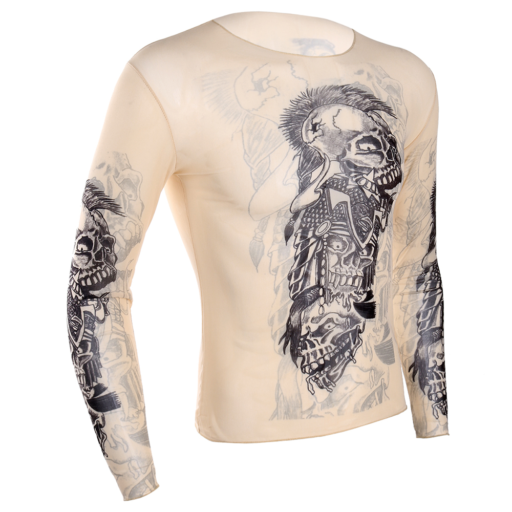c0574e42b7cac ops Tees T-Shirts iEFiEL Hot Autumn Men Tops Fake Tattoo Design Elastic See  Through Full Long Sleeve T-Shirt for Mens Halloween Wetlook C...