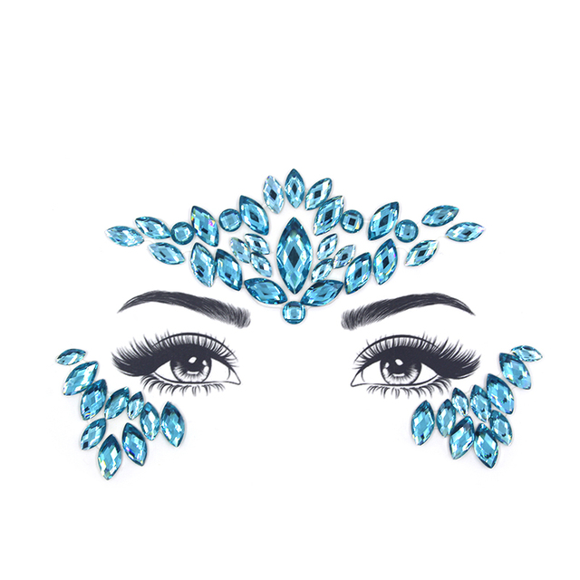 Face jewels sticker Make Up Adhesive Temporary Tattoo Body Art Gems Rhinestone Stickers for Festival Party Makeup
