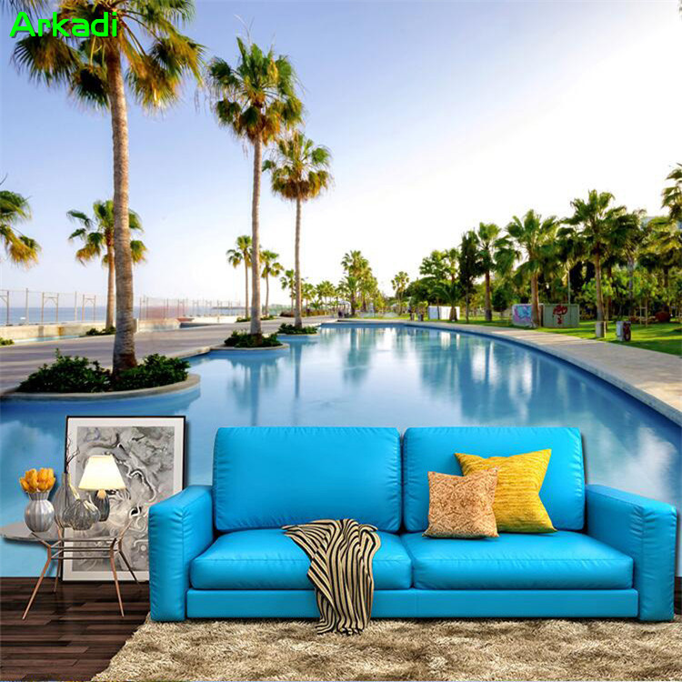 Beach Seaview Decoration TV Background Mural 3D Living Room Wallpaper Maldives Resort Swimming Pool