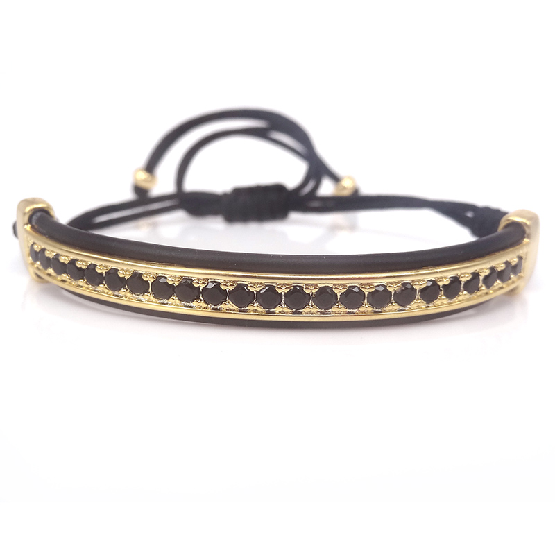 Aliexpress Com 2016 Famous Brand Mens Bracelets Bangles Protecting Riviere Macrame Bracelet In Gold And Black Cz Leather For Men From
