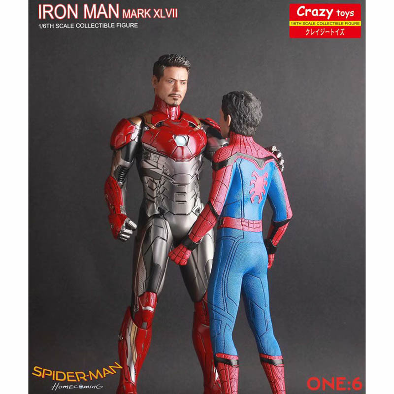Spider Man Homecoming Two Head Ver Action Figure 1 6 scale painted figure Iron Man MK47