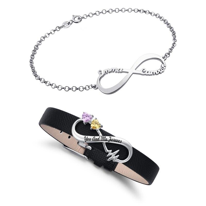 AILIN Для Женщин Девочек Бесконечность Браслеты для нее имя и камень браслет Свадебная вечеринка Стерлинговое серебро ювелирные изделия Подарок на годовщину