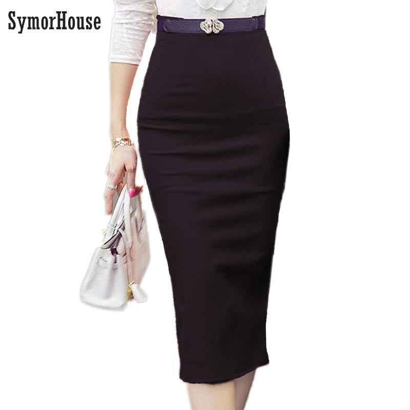 74177d868841 2018 Pencil Skirt Women Bodycon Fashion High waist elastic Office Skirt Red  Black Slit Women's Midi