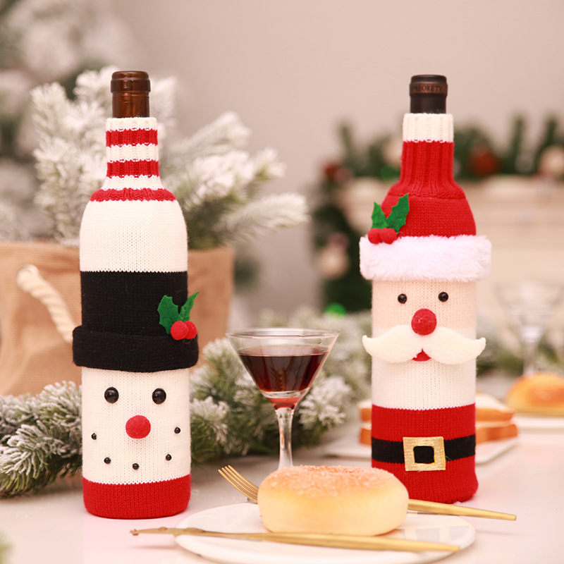 Christmas Decorations for Home Santa Claus Wine Bottle Cover Bag Snowman Stocking Gift Holders Xmas Navidad 2018 Decor New Year