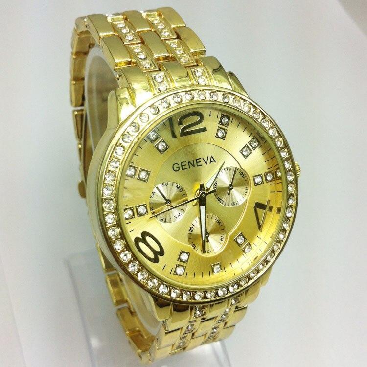 Gold Quartz Geneva Watch Diamond Women Dress Digital