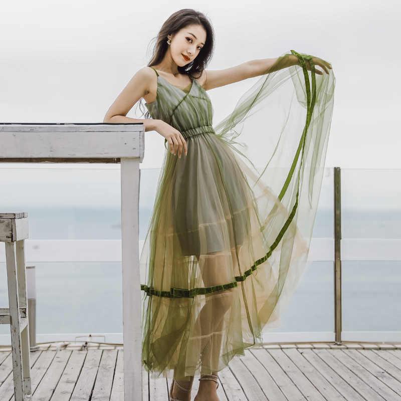 HAMALIEL зеленая, сетчатая, праздничное, макси, женское платье 2019, летнее, на бретельках, с открытой спиной, с бантом, длинное платье, сексуальное, v-образный вырез, бохо платье