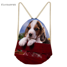 ELVISWORDS Small Women Drawstring Backpack Beagle Dogs Printed Travel Female Bag School Girls Satchel Casual Shopping Beach Bags