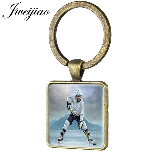 JWEIJIAO Vintage Ice Hockey Player Silhouette Art Picture Keychian Hockey  Stick Club Customized Key Chain Rings Gift HY28 011fe155a