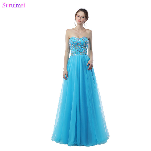 Light Blue Evening Dresses Exquisite Beaded Crystals High Quality