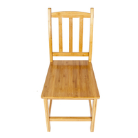 2Pcs Bamboo Chairs Sturdy Dining Side Chairs for Kitchen Dining Room Solid Quality Chairs with Back Wood Color US Stock