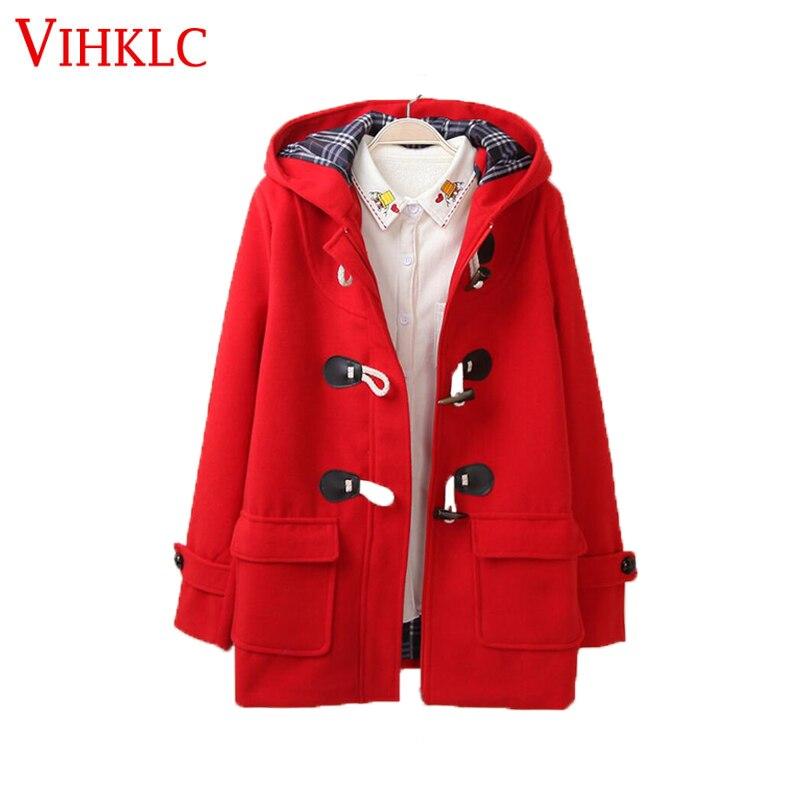 la meilleure attitude 228b1 a8257 US $34.68 52% OFF|Duffle Coat Long Turn Down Horn Button Hooded Collar  Woolen Overcoat Wide Waisted manteau femme Out Wear winter coats FC247-in  Wool ...
