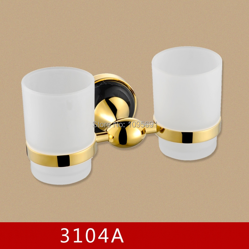 Luxury Brass +marble Double Tumbler Holder/Toothbrush Cup Holder, Brass Base with Gold  finish+Glass Cup,Bathroom Accessories auswind luxury gold solid brass round base toothbrush holder antique plated double tumbler ceramic cup bathroom accessories