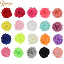 "120pcs/lot Trendy Mini 1.5"" Chic Shabby Frayed Flower without clip Children Hair Accessories DIY Headbands For Kids Headwear"