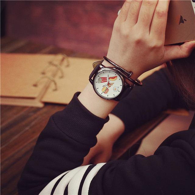 Duobla French fries hot dog burger pattern Leather Men Women Watches New Style Woman Wristwatch Lady Watch Hot Sale 2019 30Q