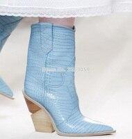 ALMUDENA/Новейшие Дизайнерские Сапоги на танкетке из змеиной кожи; высокие сапоги до колена из питона; цвет синий, желтый; обувь для сцены с остр