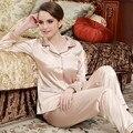 Pareja de moda Emulación Pijamas de Seda Satinado de Alta Calidad de Las Mujeres ropa de Dormir de Manga Larga de Los Hombres Da Vuelta-Abajo Pijamas Conjuntos de Pijamas