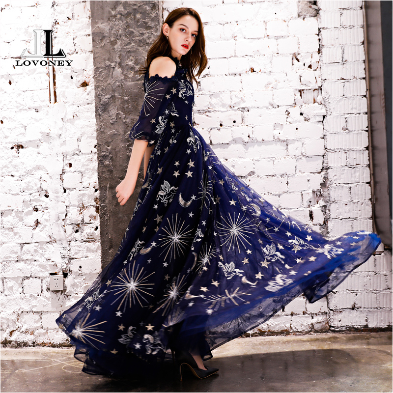 LOVONEY Vintage Pattern A Line Tulle   Evening     Dresses   2018 Floor Length Long Formal   Dress     Evening   Gown Robe de Soiree YS439