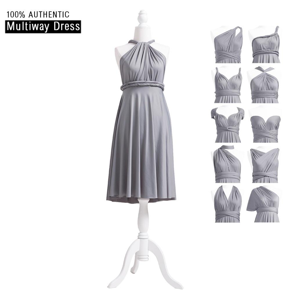 Grey   Bridesmaid     Dress   Short Convertible   Dress   Infinity   Dress   Multi Way Wrap   Dress   With Halter Straps Styles