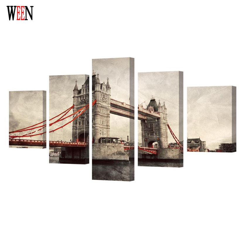 WEEN Classic London Bridge Wall Pictures Stretched And Framed HD Printed 5 Pc Canvas Art Painting Large Home Cuadros Decoracion