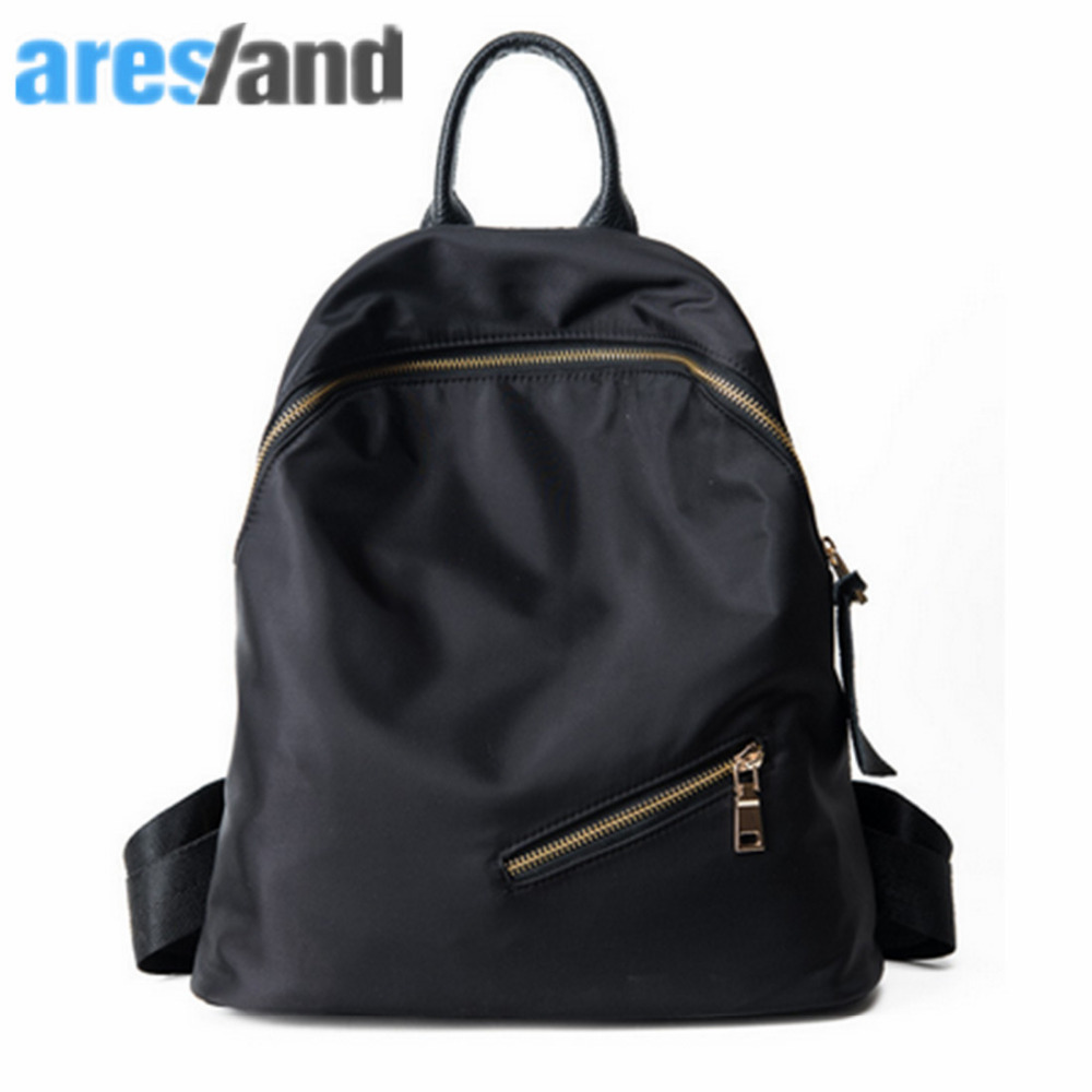 ARESLAND Simple Casual Women Backpack Nylon Ladies Backpacks For Travelling School Shouder Bag Black Sac A Dos Femme