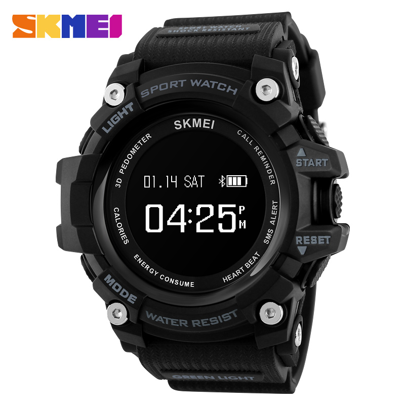 SKMEI brand men sport watches smart watch heart rate pedometer calories bluetooth watches digital wristwatch Call Remind clock for iphone 7 plus pattern printing light spot decor leather wallet case with lanyard cute cow